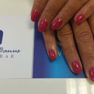 acrylic nails with Singapore sling by Cuccio veneer