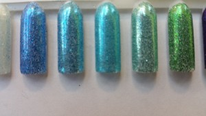 Blue, green glitter